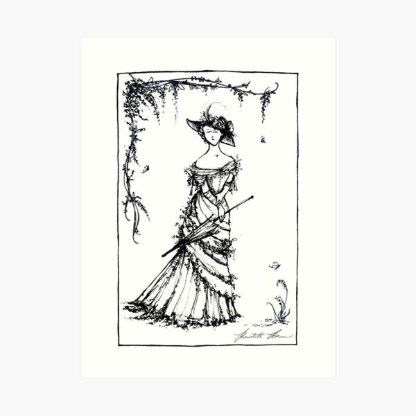 GARDEN STROLL Pen and Ink Illustration Art Print