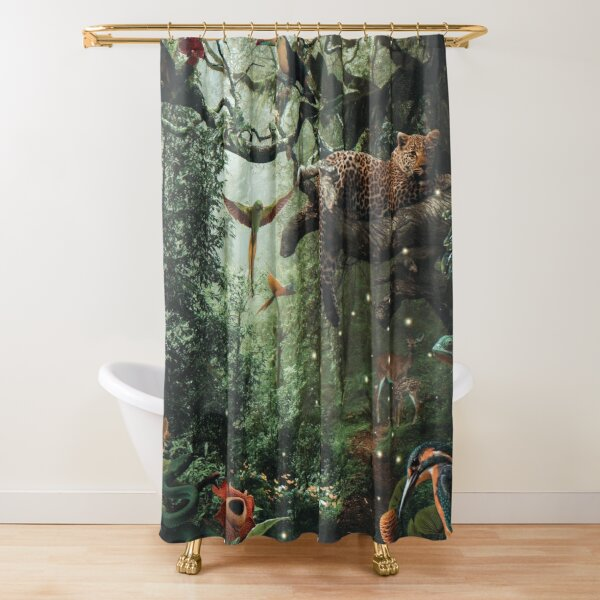 LEOPARD IN THE RAIN FOREST Shower Curtain