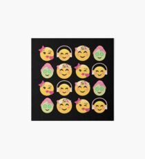Cute Girls Emoji JoyPixels Lovely Faces Art Board Print