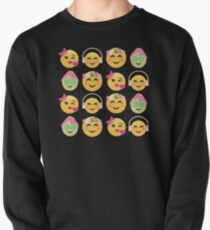 Cute Girls Emoji JoyPixels Lovely Faces Pullover Sweatshirt