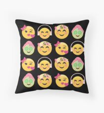 Cute Girls Emoji JoyPixels Lovely Faces Floor Pillow