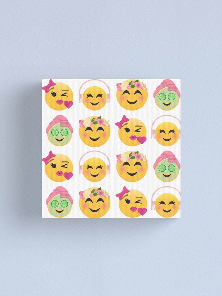 Alternate view of Cute Girls Emoji JoyPixels Lovely Faces Canvas Print