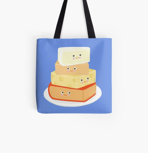 Cheesy Cheese Plate - Cute and cheesy All Over Print Tote Bag