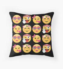 Sweet Girls Emoji JoyPixels Lovely Faces Floor Pillow