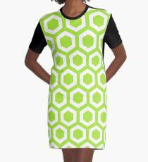 LimeGreen Hexagons Graphic T-Shirt Dress