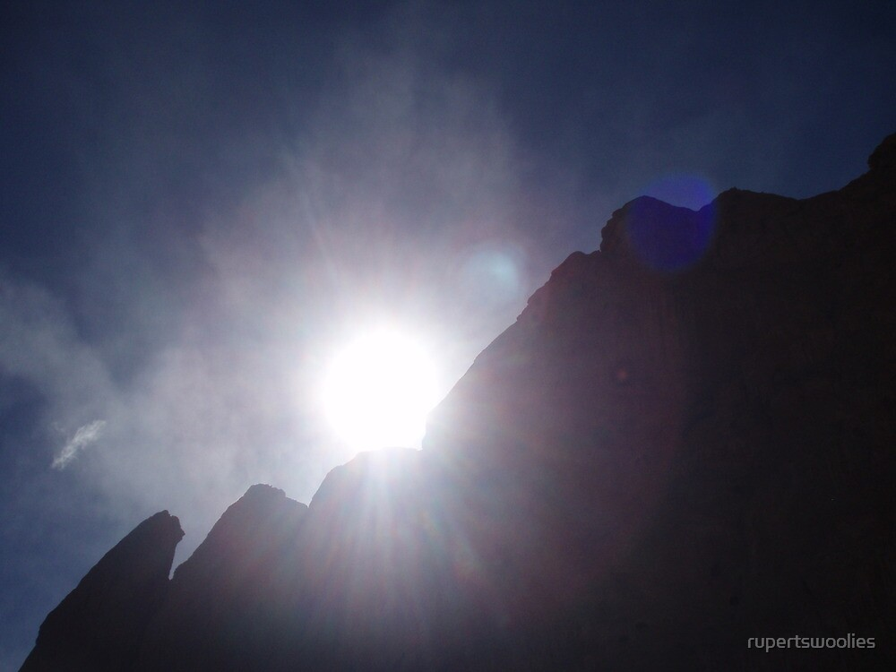 Sun Behind Rocks by rupertswoolies