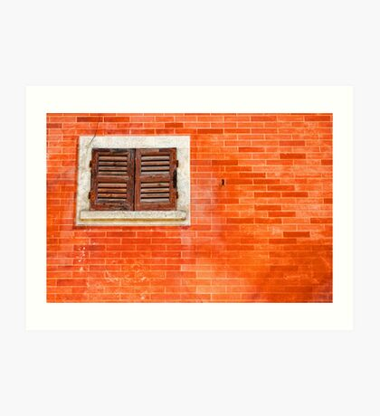 Window on orange wall Art Print