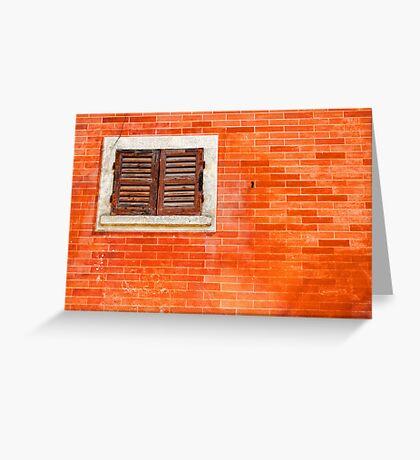 Window on orange wall Greeting Card