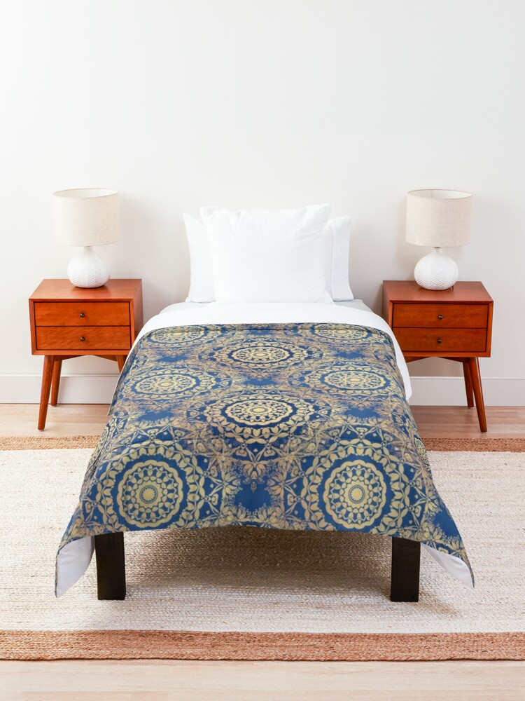 Alternate view of Gold Mandala for Spirituality and Charity Blue Comforter
