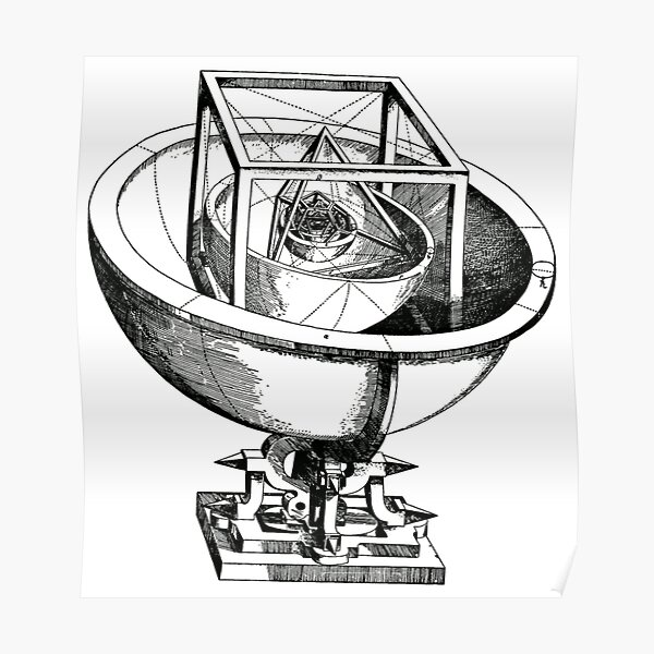 Johannes Kepler model, Radio telescope, illustration, exploration, water, science, vector, design, technology Poster