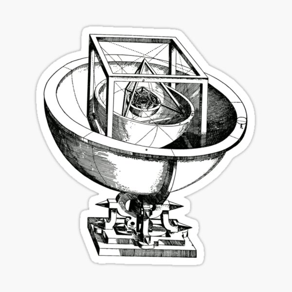 Johannes Kepler model, Radio telescope, illustration, exploration, water, science, vector, design, technology Sticker