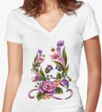 Enchanted Flowers  Women's Fitted V-Neck T-Shirt