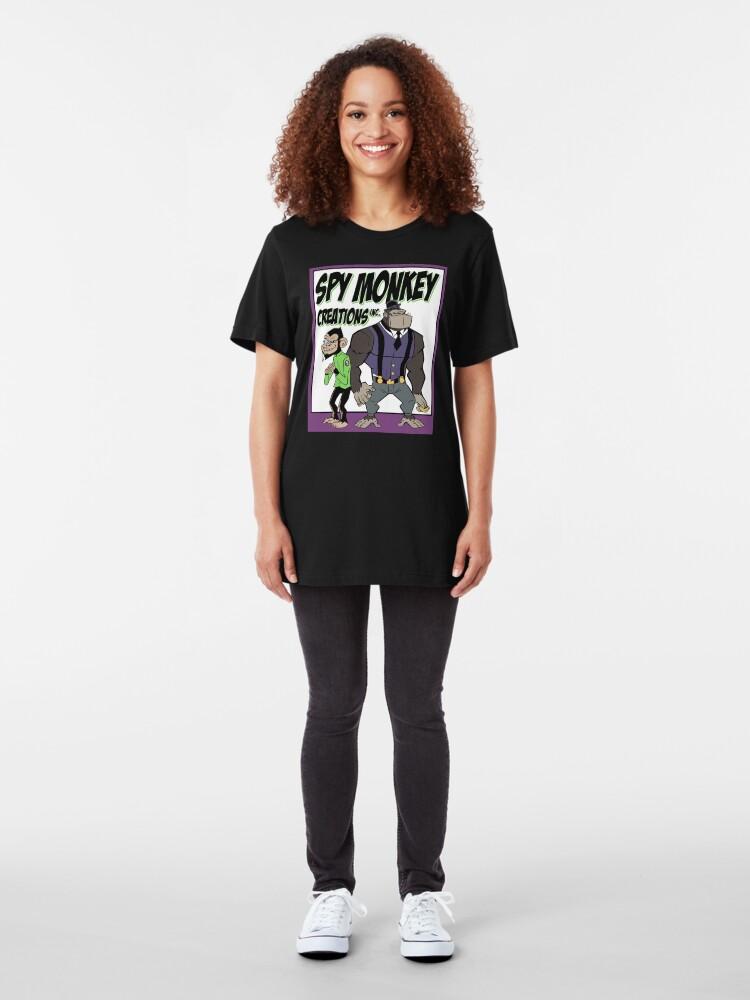 Alternate view of Spy Monkey Creations Inc Logo! Slim Fit T-Shirt