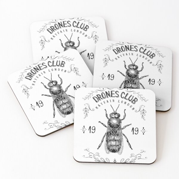 Drones Club, est. 1919 in Mayfair, London / Wodehouse Inspired, Wooster Approved Coasters (Set of 4)