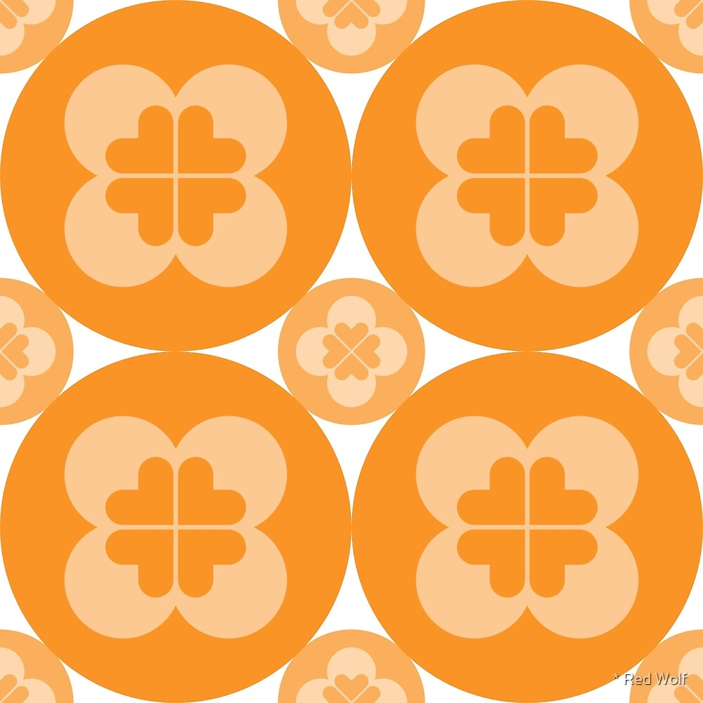 Geometric Pattern: Flower Circle: Orange Light by * Red Wolf