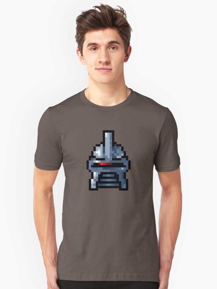 Cylon Pixel Head Unisex T-Shirt Front
