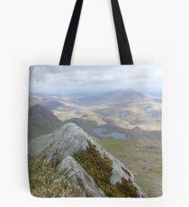 Close Up Rock, Far Away Mountain Tote Bag