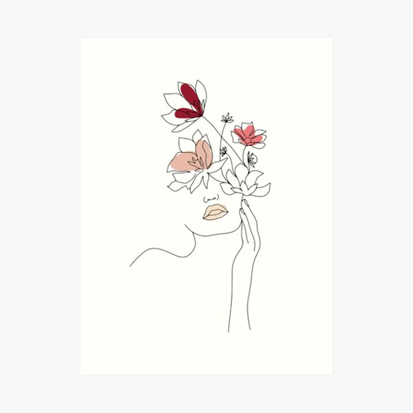 Abstract Line Art Woman With Flowers Art Print