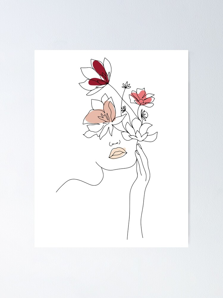 Alternate view of Abstract Line Art Woman With Flowers Poster