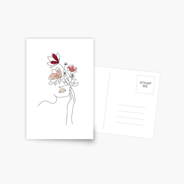 Abstract Line Art Woman With Flowers Postcard