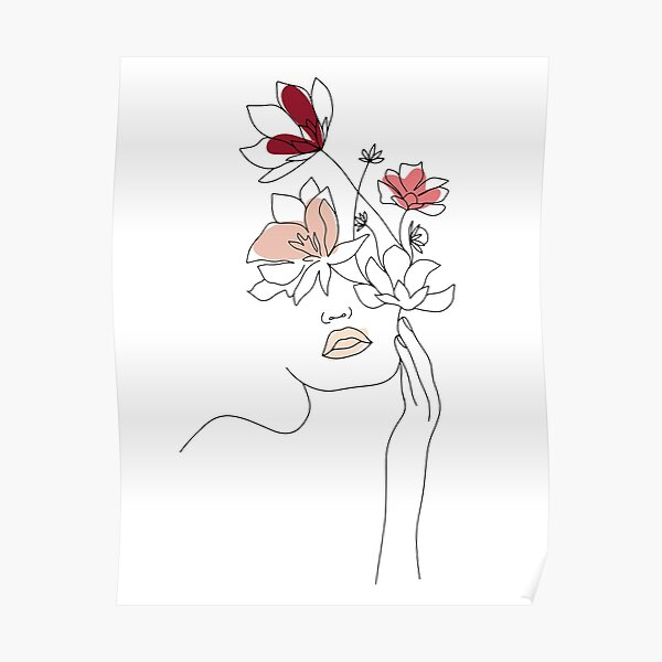Abstract Line Art Woman With Flowers Poster