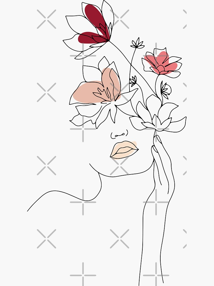 Abstract Line Art Woman With Flowers by UtArt