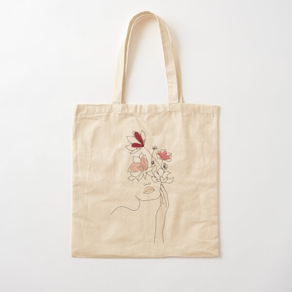 Abstract Line Art Woman With Flowers Cotton Tote Bag