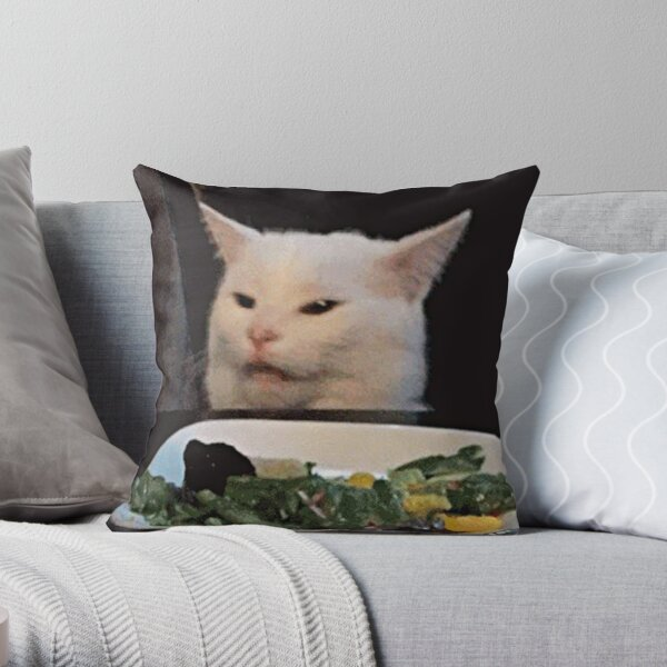 Woman shouting at a cat Throw Pillow