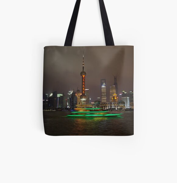 Green Boat All Over Print Tote Bag