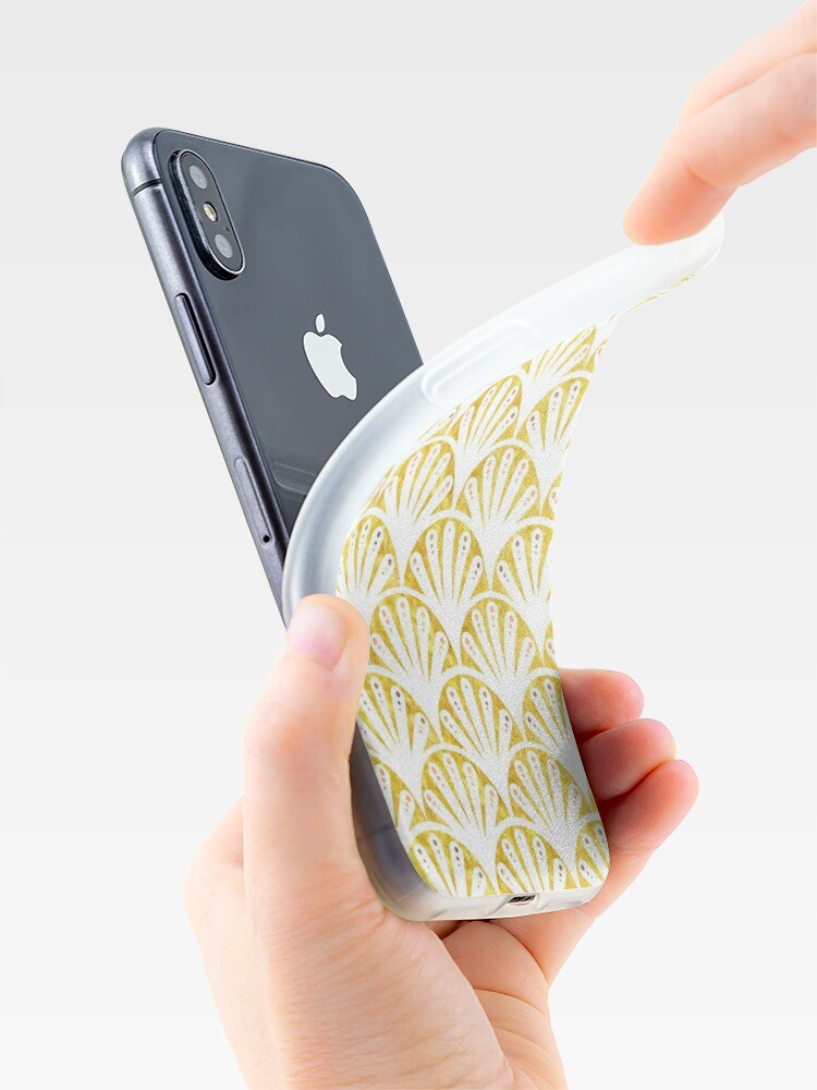 Alternate view of Art deco gold and white fan pattern iPhone Case & Cover