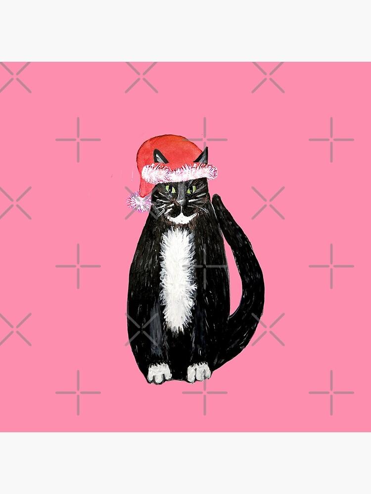 Christmas cat , santa claws christmas cat wearing santa hat by MagentaRose