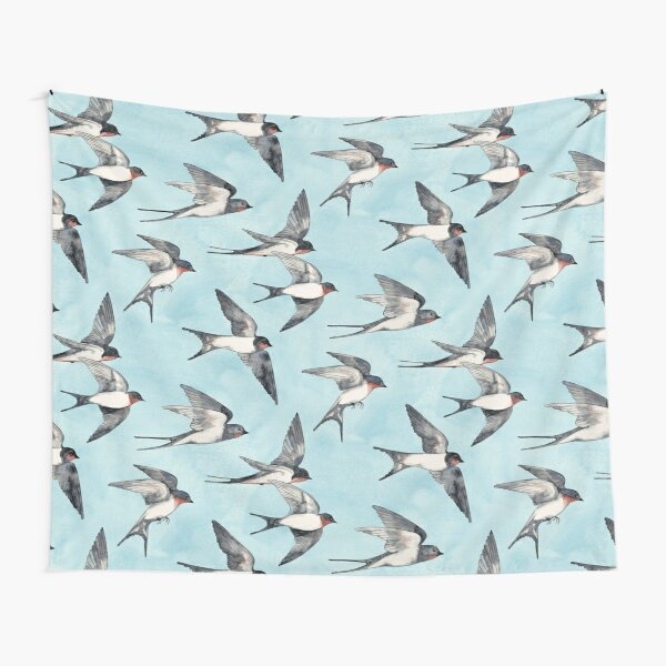 Blue Sky Swallow Flight Tapestry