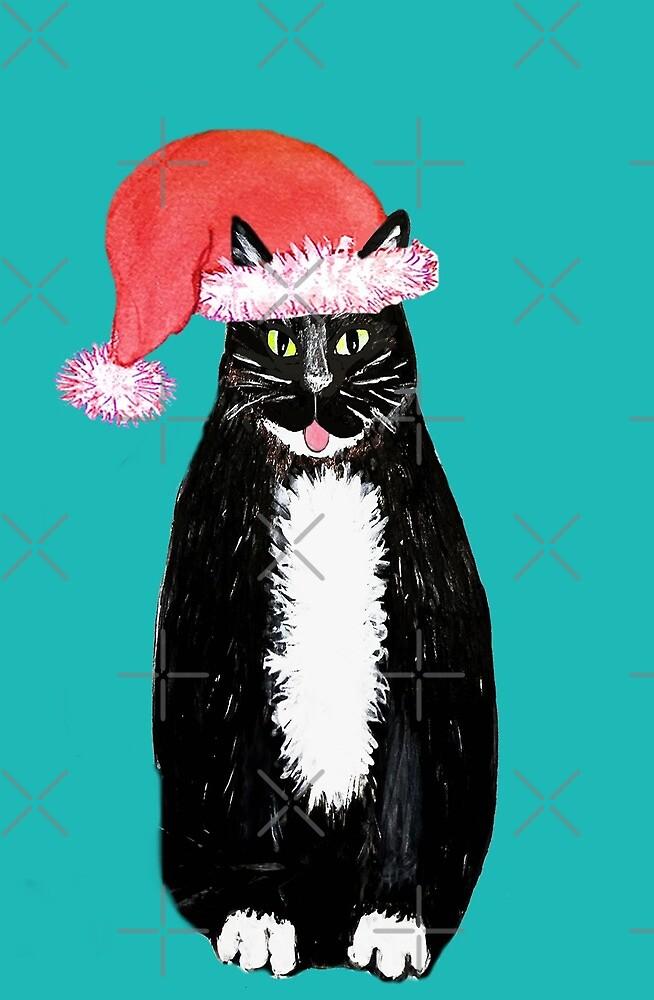 cat santa // Santa Paws tuxedo cat wearing santa hat by MagentaRose