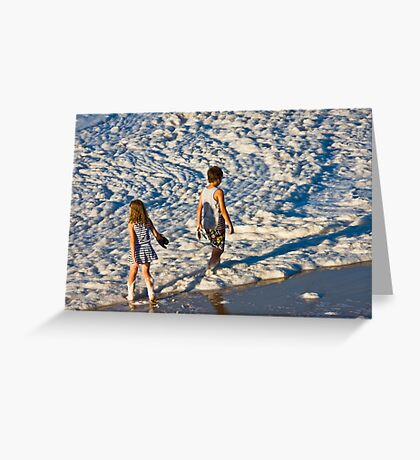 Foaming sea at Merimbula Greeting Card