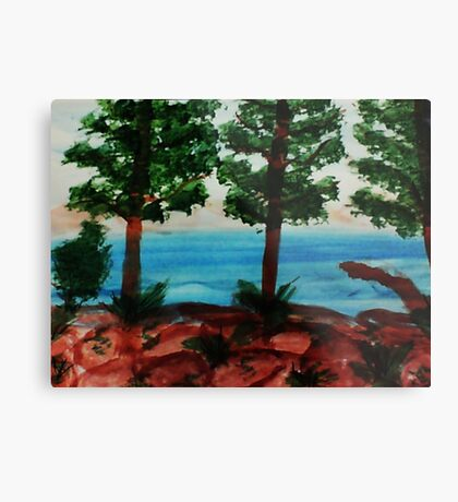 Looking out at Tahoe from Balcony #1, Series, watercolor Metal Print