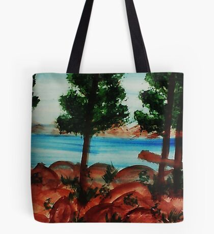 Looking out from Balcony onto Lake Tahoe #3, Series, watercolor Tote Bag