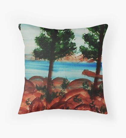 Looking out from Balcony onto Lake Tahoe #3, Series, watercolor Throw Pillow