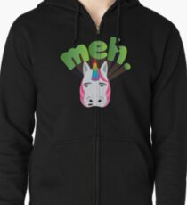 MEH Unicorn Emoji JoyPixels i Don't Care Zipped Hoodie