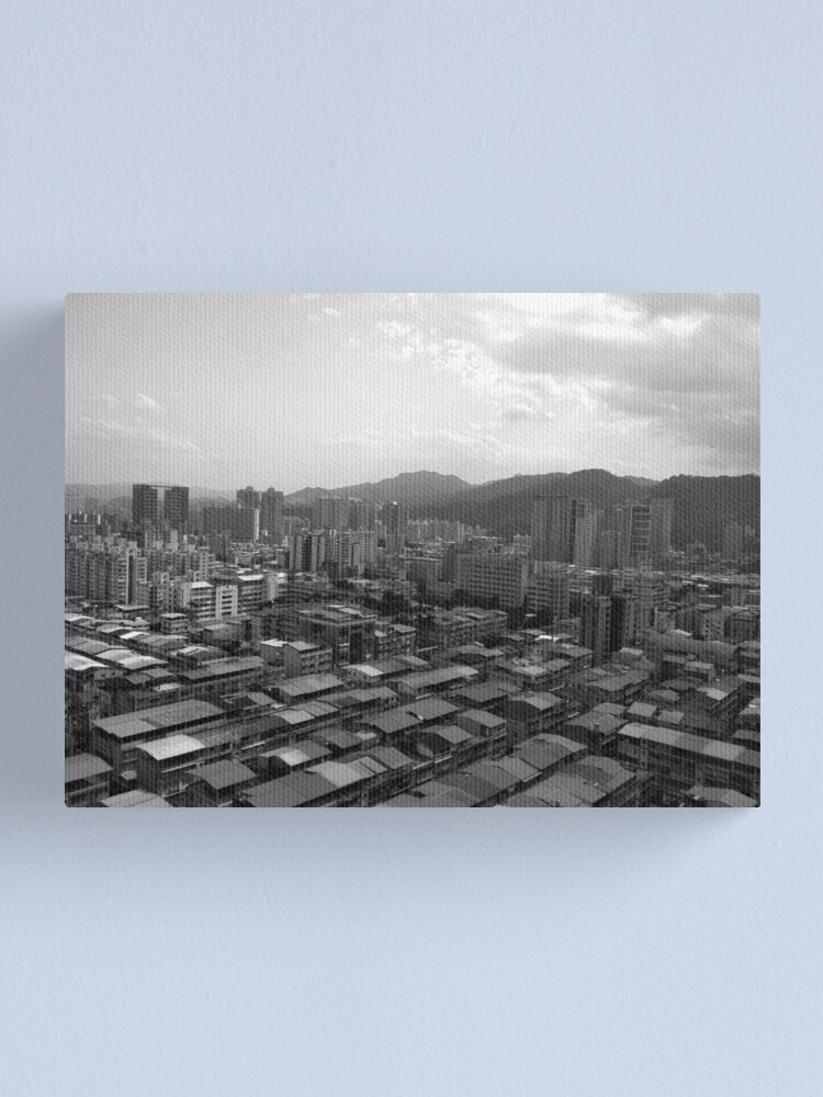 Alternate view of Xindian District Tower View Black & White Canvas Print