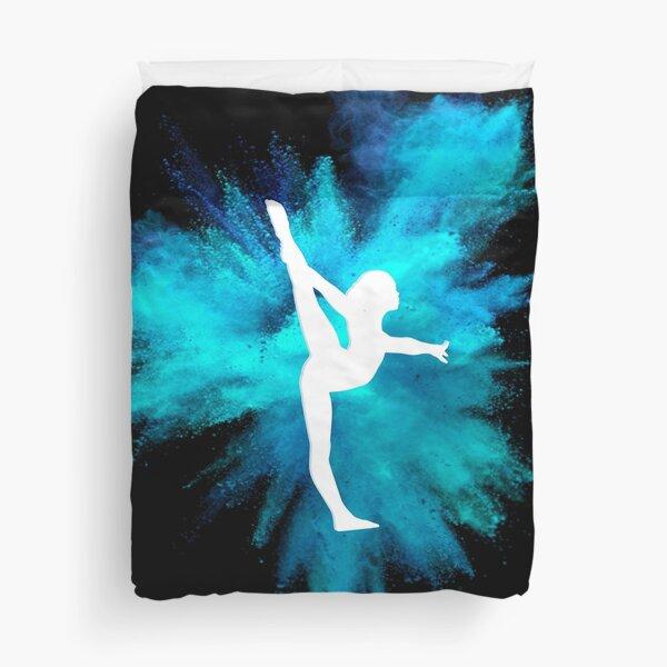 Gymnast Silhouette - Blue Explosion  (On Black)  Duvet Cover