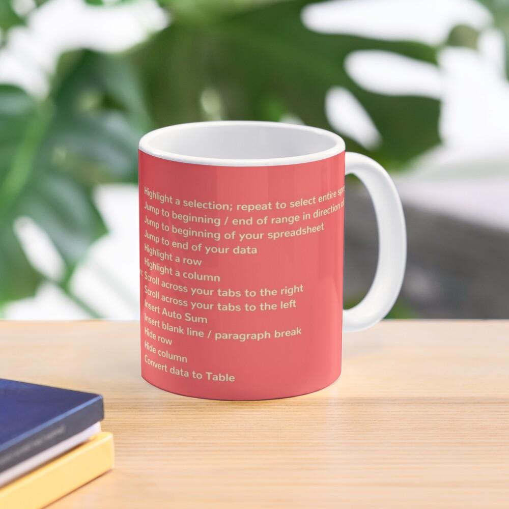 First Coffee. Then I'll Excel (+ Keyboard Shortcut Cheat Sheet) Coffee Mug in Coral Mug