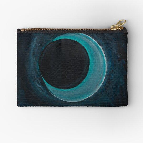 Blue Moon Black Hole Painting Zipper Pouch
