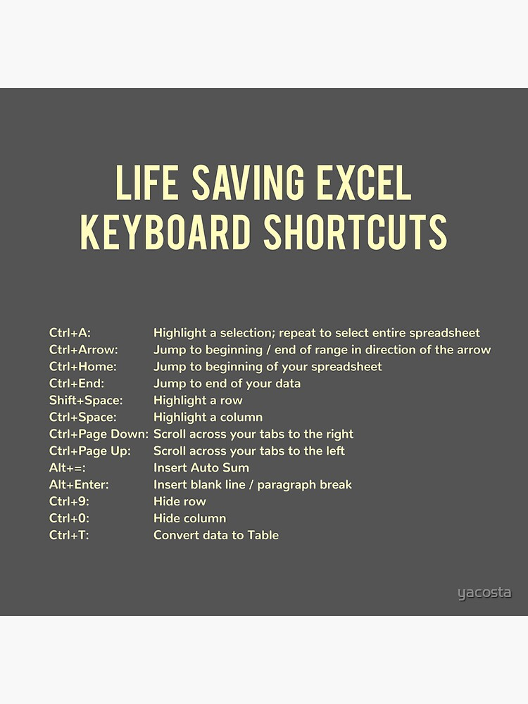 Life Saving Excel Keyboard Shortcuts Stickers by yacosta