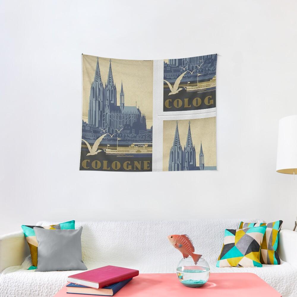 Vintage Cologne Travel Poster Tapestry