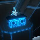 Blue Robot at Desk by Vicki Lau