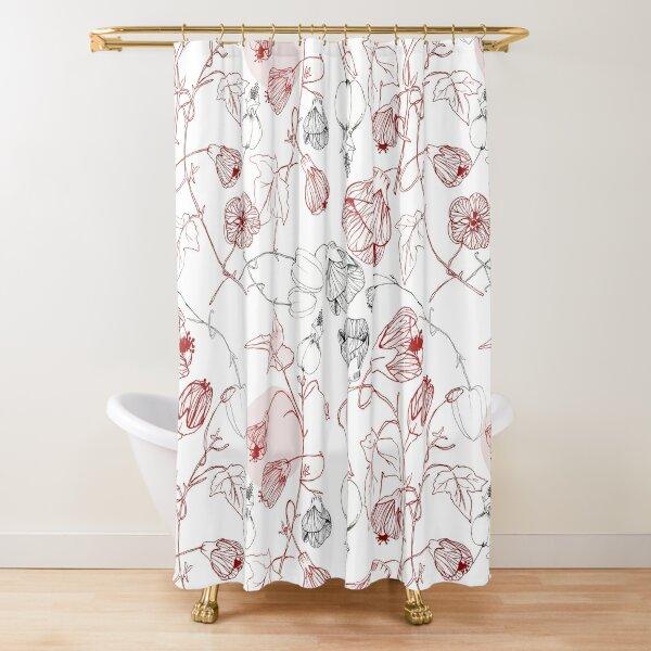 Abutilon Sketches Flowers Shower Curtain