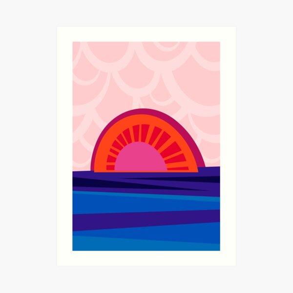 Retro Sonnenuntergang – Illustration in strahlendem Blau, Orange und Rot Kunstdruck