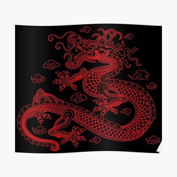 Red Chinese Dragon Poster