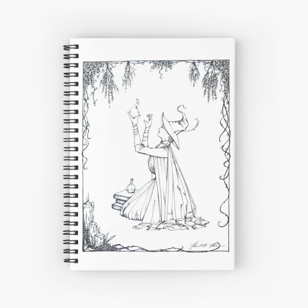WENDOLYNE THE WYRD Pen and Ink Illustration Spiral Notebook