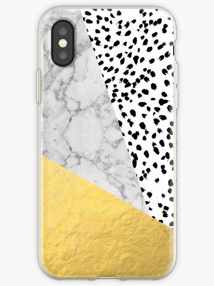634d0ae190 Marble Gold Dots - modern hipster trendy shiny gold foil cell phone case  iphone dorm college
